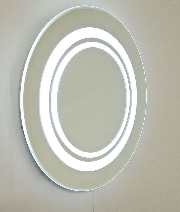 Round bathroom mirror with cool white leds - Round bathroom mirror with lights ...