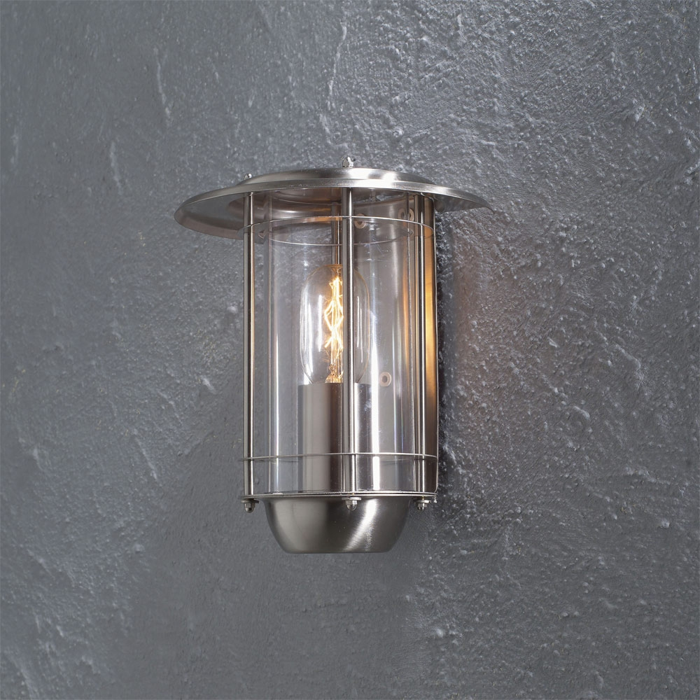 Flush External Wall Lights : Satin Nickel Flush Mounted Exterior Light