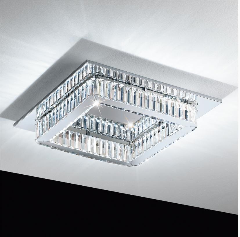 Square Crystal Amp Glass Led Semi Flush Light
