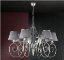 6 Light Silver Finish Shaded Chandelier