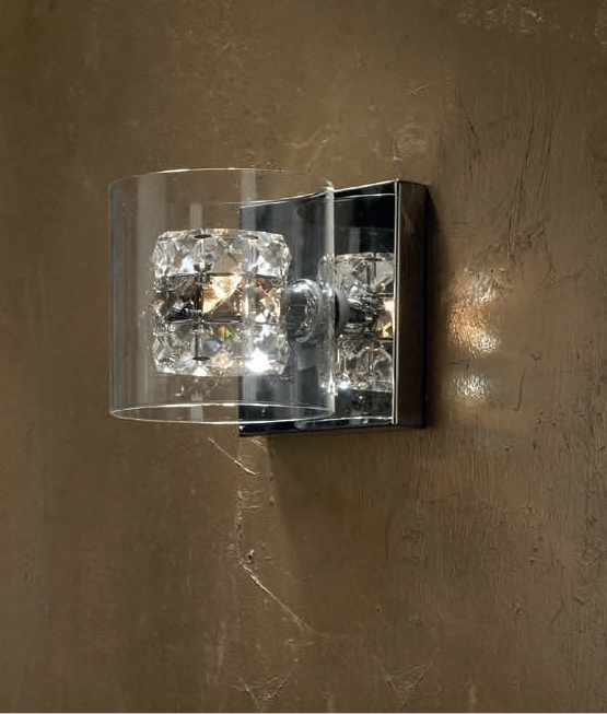 Smoke Glass & Crystal Wall Lights