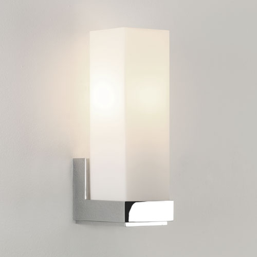 Double Insulated Bedroom Wall Lights : Block Chrome Glass Wall Light