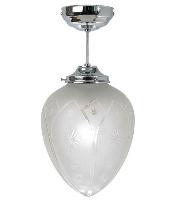 Chrome & Star Etched Glass Fixed Rod Light