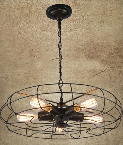 Vintage Fan Pendant Light - LED Lamps