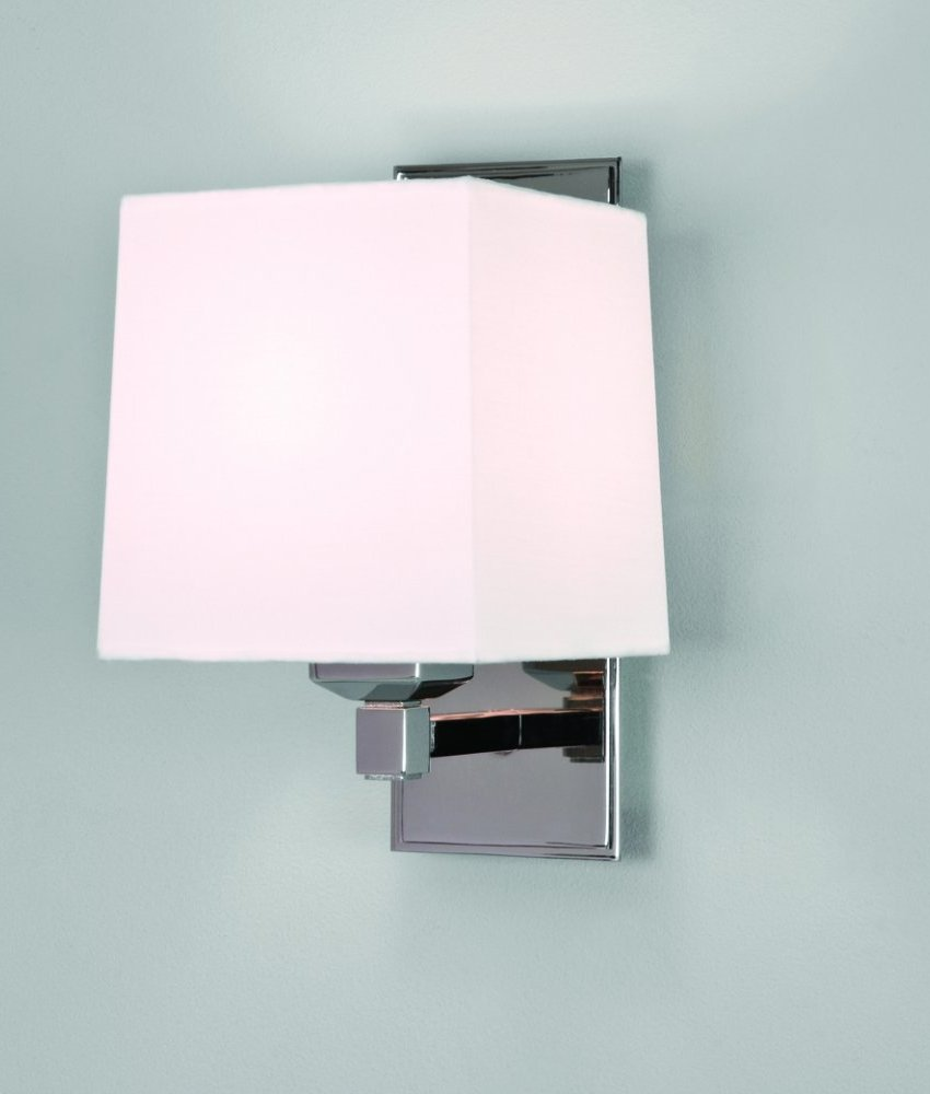 White Shade Wall with LED Arm - Chrome