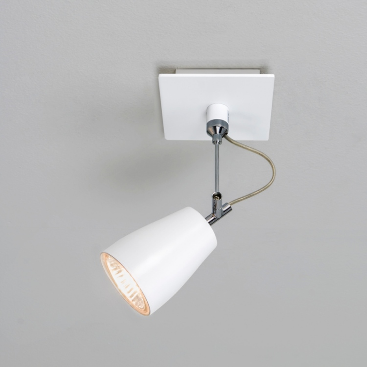White Single Spotlight - Wall or Ceiling Mounted