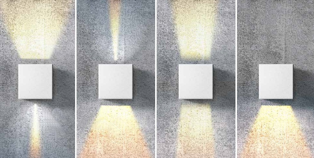 Square Up & Down Wall Light - Adjustable Beam