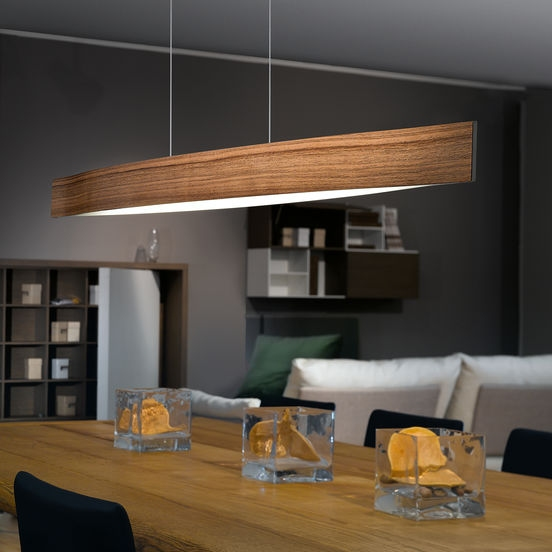 Wide wood pendant with led lamps for Dining room lighting ideas uk