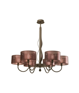 6 Light Rustic Steel & Antique Copper Silk Shaded Chandelier