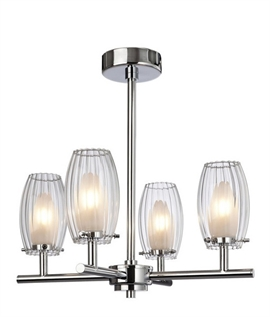 Glass & Chrome Chandelier IP44 Rated