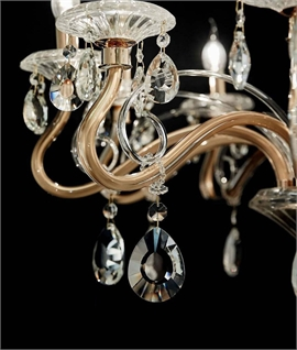 Cut Crystal 10 Arm Chandelier Scrolled & Curled