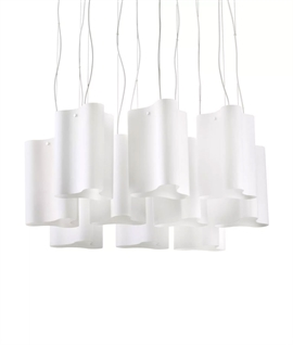 Curved White Glass Shade Pendant - 6 or 10 Light