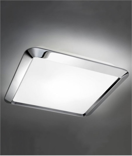 120W Opal Glass Ceiling Fixture - Chrome Finish