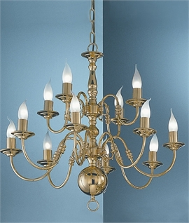 Polished Brass Flemish Chandelier with Twist Details