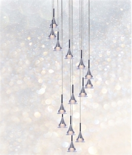 Chrome LED 14 Light Pendant 3M Drop