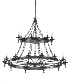Two-Tier 18 Light Wrought Iron Chandelier in Romanesque Style