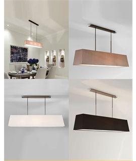 Long 3-Light Box Shade Pendant - Twin drop with choice of colours and finishes