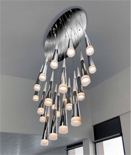 Jumbo Size LED Light Cluster With 24 or 31 Chrome Pendants
