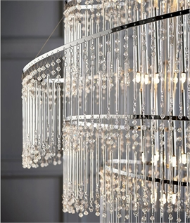 This 7 Light LED Crystal Chandelier trestle flaunts 3