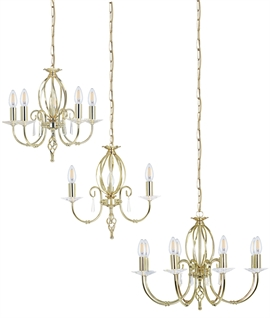 Polished Brass & Cut Glass Droplet Chandelier