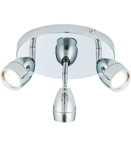 Chrome Adjustable 3 Lamp Round Spot Plate