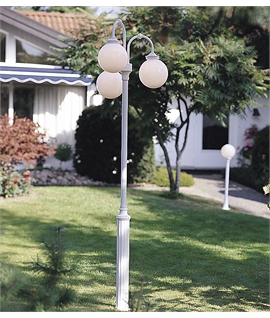 Classical Outdoor Lamp Post with Opal Globes