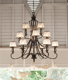Bronze 3-Tier Chandeliers for Big Spaces - 15 Lights