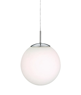 Bauhaus Opal Glass Globe Pendant Light - 35cm
