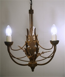 Ornate Rusty Finish 3 Arm Chandelier