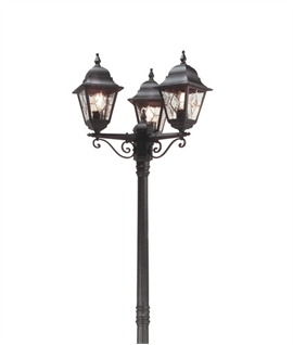 Leaded Glass Lamp Post with 3 Lanterns