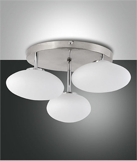 Triple Opal Glass Chrome Ceiling Light