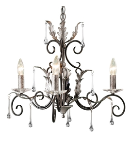 Scroll & Crystal 3 Light Ornate Chandelier
