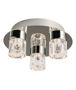 Flush Mounted Glass Ceiling Light with Bubble Effect