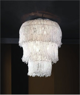 Tiered Long Drop Clear Beaded Wall Light