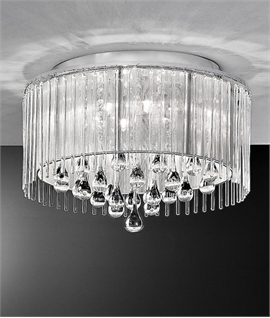Crystal Droplet & Chrome Lurex Shaded Flush Light