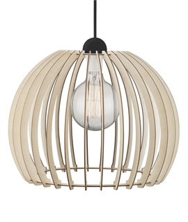 Curved Wooden Slatted Pendant