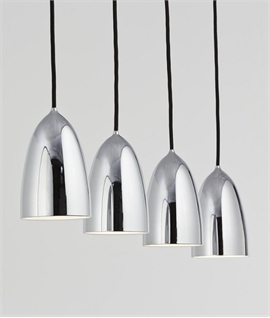 4 Bar Suspension Light & 100mm Chrome Shades