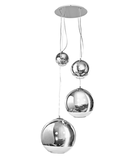 Silver Glass Ball Hanging Pendant - 4 Lights