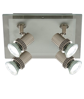 4 Light Square Ceiling Spotlight - Glass & Nickel