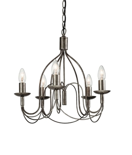 Regency Caged Antique Silver Scroll Chandelier