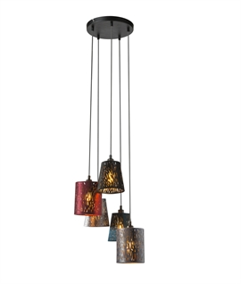 Cluster Pendant with 5 Cut-Out & Gold Lined Velvet Shades