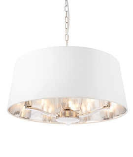Bright Nickel Large Shaded 3 Light Chandelier