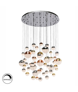 Tri-Colour LED Cluster Ball Glitter Pendant D:1400mm