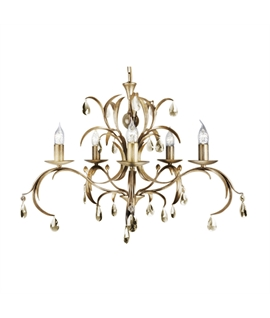 Bronze & Gold Glass Droplet Chandelier