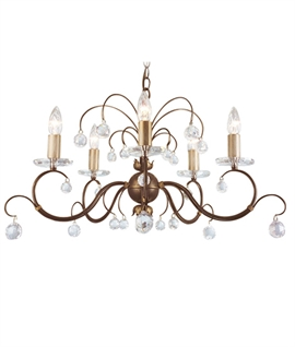 Bronze Ornate 5 Arm Chandelier with Droplets