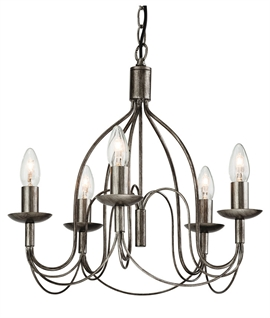 Caged Antique Silver Scroll Chandelier