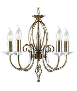 Aegean 5 Light Chandelier – by Elstead in Aged Brass