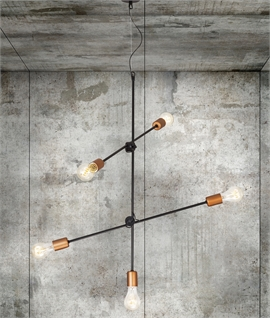 Industrial Vintage Black & Copper Adjustable Light