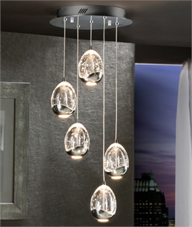 LED Glass Ball Pendant 5 Lights - Chrome or Gold