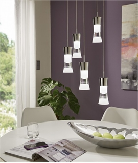 5 Light LED Cluster Pendant with Acid Etched Glass Shades